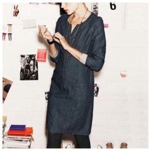 Boden | Denim Chambray Jean Popover Shirt Dress